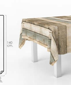 Mantel Hule Rectangular Tablones Madera. Impermeable Antimanchas PVC 140 cm. x 20 metros. Rollo Recortable. Interior y Exterior