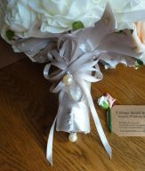 Champagne satin bouquet handle with pearl detail