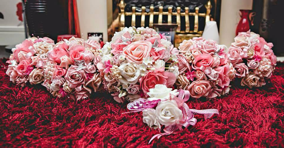 Fuschia artificial pink silk and foam bouquet range