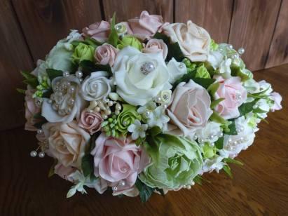 Green artificial flower teardrop bouquet