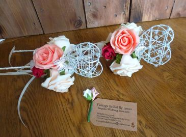Heart wands with peach red and ivory roses artificial flowers