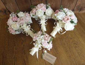 Ivory pink gypsophila bridal bouquets
