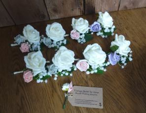 Ivory rose and gypsophila buttonhole