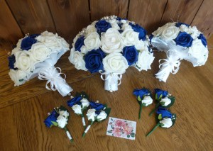 navy and ivory bouquet set