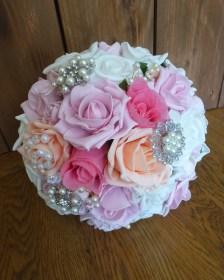 pink brooch bouquet