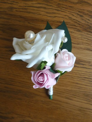 pink pearl buttonhole