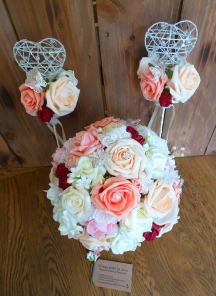 Peach and deep red rose bouquet with wands