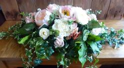 Pearl and ivory peony top table arrangment