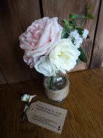 Peony and rose centerpiece in jar
