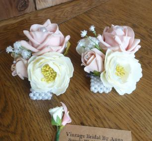 Peony rose and gypsophila pearl wrist corsages