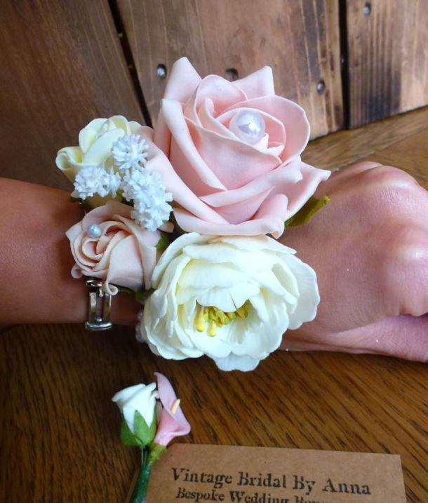 Peony rose pink pearl wrist corsage