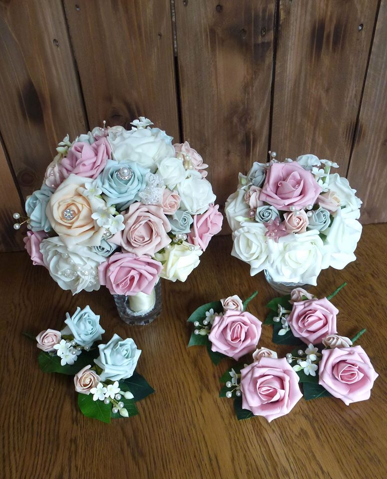 Pink and mint green brida bouquet