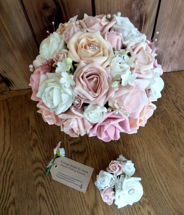 dusky Pink and peach artifical bouquet
