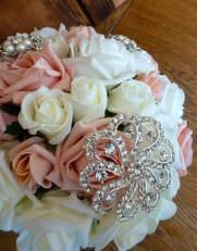 Pink and white rose cloe up bouquet