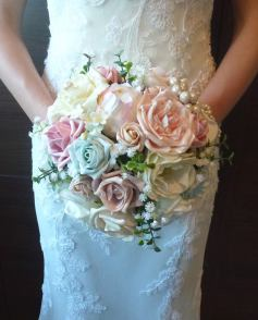 Pink artificial wedding flower bouquet