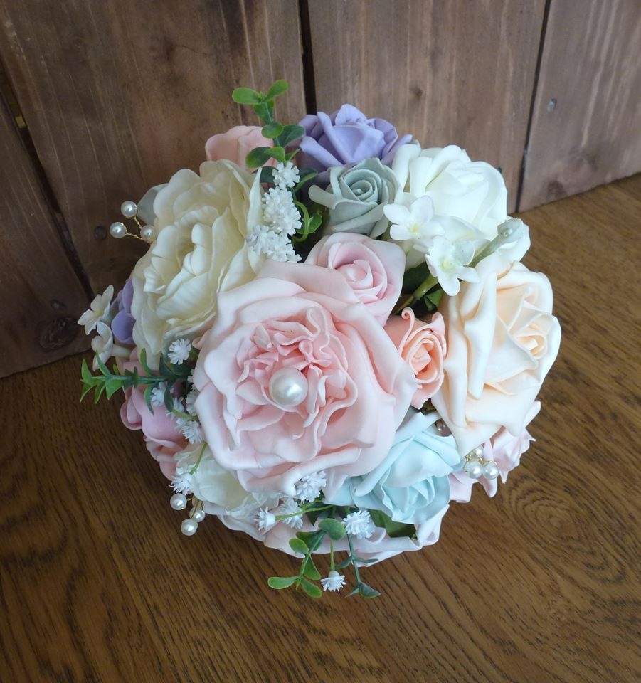 Pink blue and ivory foam wedding bouquet