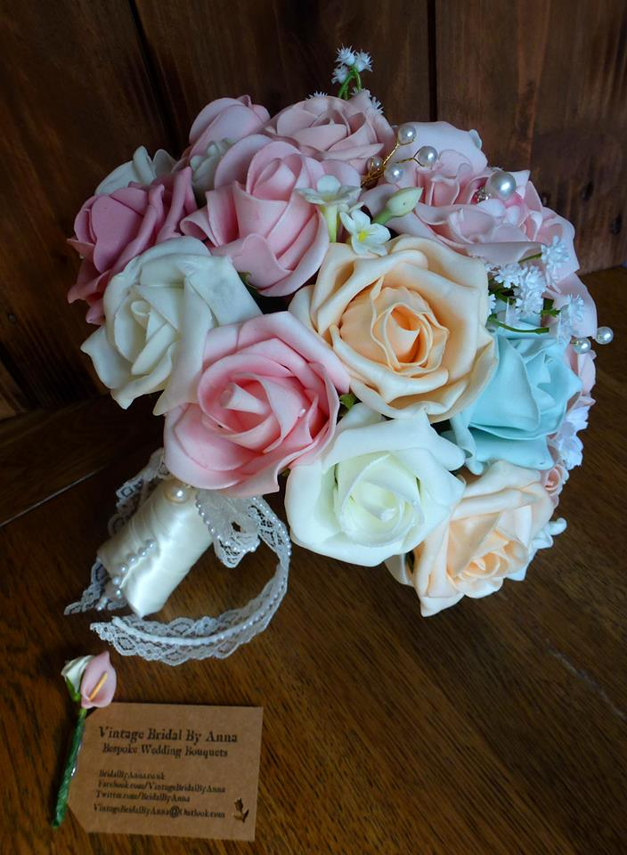 Pink peach and ice blue lace foam wedding bouquet