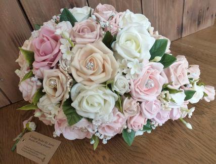 Pink pearl diamante wedding teardrop bouquet