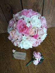 Pink fuschia silk wedding bouquet
