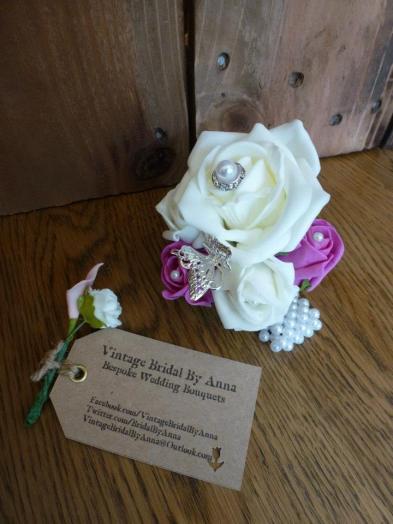 Purple rose wrist corsage pearl