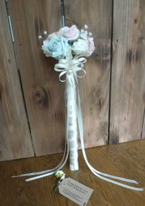 Satin rose flower girl wand