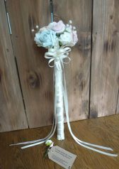 Satin rose flower girl wand