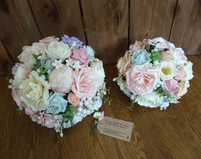 Silk blue and pink peony bridal bouquets