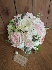 Silk dusky pink peony bouquet
