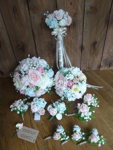 Silk wedding flower and wand