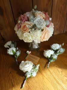 pastel brooch wedding bouquet with pearls
