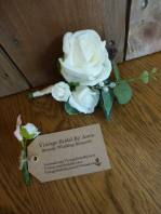 White foam and pearl buttonhole vintage