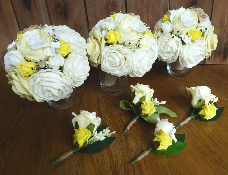 Yellow lemon and ivory vintage flowers