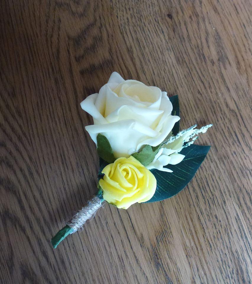 single Yellow and lemon wedding buttonhole