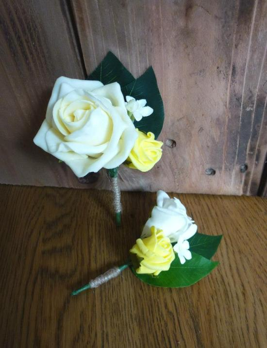 Yellow rustic buttonholes wedding flowers lemon