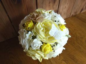 Lemon Yellow rustic rose and peony bouquet