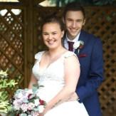 Zoe wedding photo bouquet dark red eucalyptus