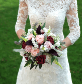 burgundy and lavender bouquet