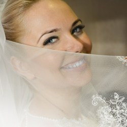 Smiling eyes wedding veil