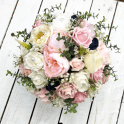 white and pink with blue buds