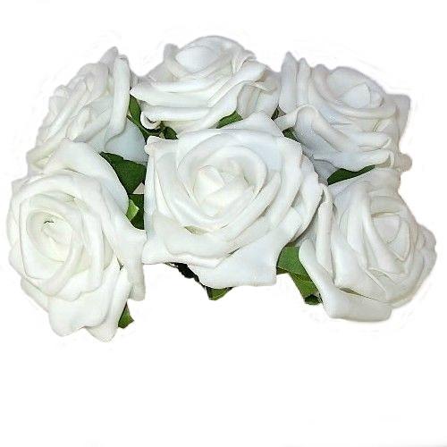 Foam Artificial Flowers White Rose
