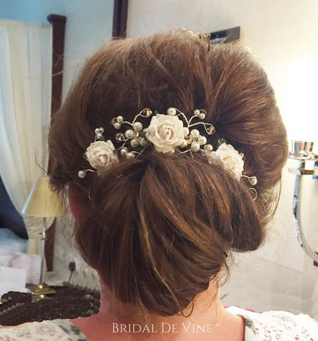 'nadine' crystal, pearl & mulberry flower hair vine