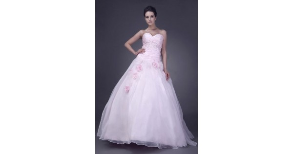 Pink Ball Gown Sweetheart Floor-length Flowers Organza