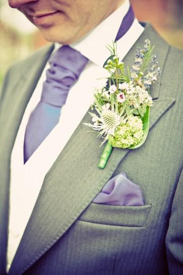 purple& green buttonhole | sarah janes photography