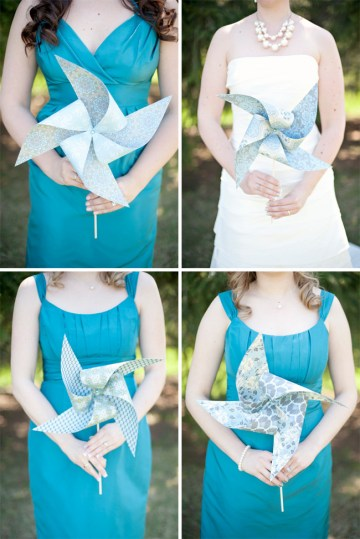blue bridesmaids pinwheels | natalie spence photography