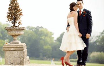 A Retro Fabulous 1950s Style Wedding: Red Trimmed Petticoat & Polka Dots