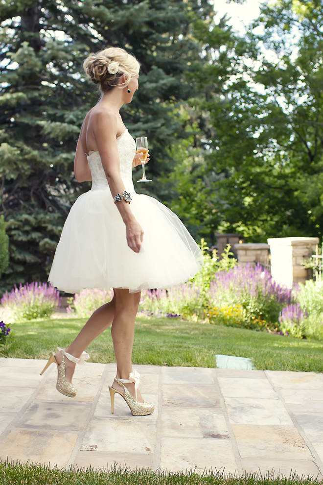 bride gold glitter shoes short tutu wedding dress champagne