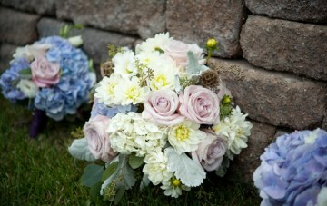 white, green and blue wedding bouquet   erin johnson photography