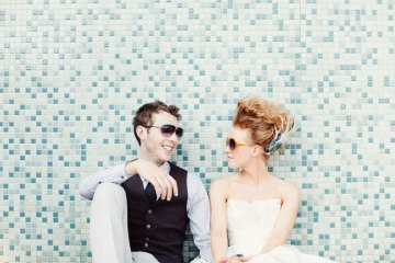 funky wedding bride and groom   james moes photography