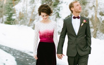 Magical Winter Shoot: Snow, Roses & A Red Velvet Wedding Dress