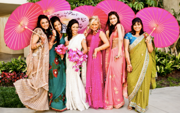 Vibrant Fuchsia Indian Wedding: Orchids and Pretty Parasols